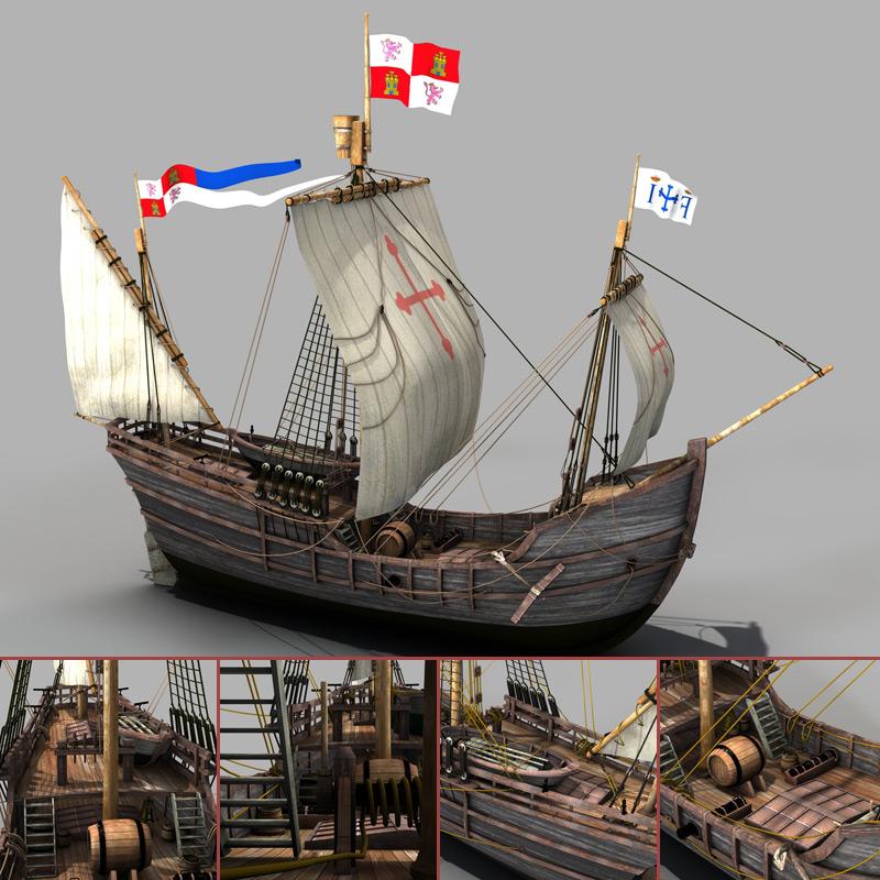 Pinta - Kolumbus Schiff - Columbus Ship - 3D Model