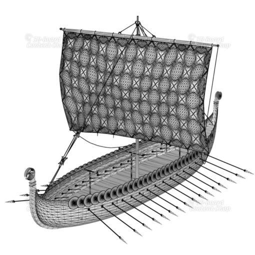 Wikingerschiff Viking-Ship Gokstad-Schiff Langschiff 3D Model